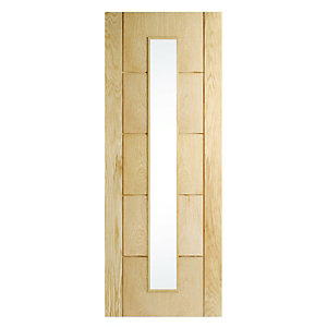 Interior Oak Adams 5 Groove Glazed Satin Hinge, Handle & Latch Door Bundle