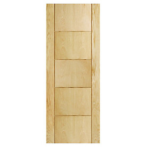 Interior Oak Adams 5 Groove Satin Hinge, Handle & Latch Door Bundle