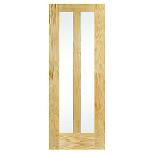 Interior Oak Hobson 2 Panel Glazed Satin Hinge, Handle & Latch Door Bundle