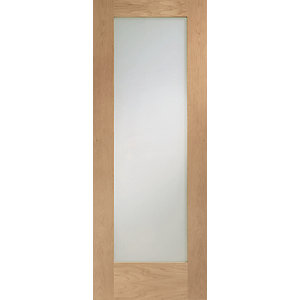 Interior Oak Pattern 10 Clear Glazed Satin Hinge, Handle & Latch Door Bundle