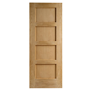 Interior Oak Shaker 4 Panel Satin Hinge, Handle & Latch Door Bundle