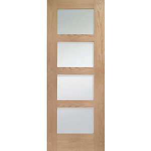 Interior Oak Shaker 4L Clear Glazed Satin Hinge, Handle & Latch Door Bundle