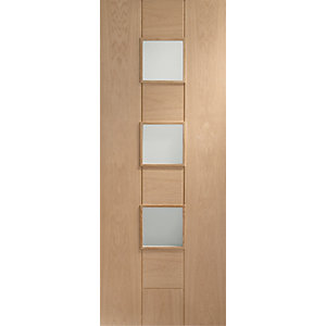 Internal Oak Veneer Messina Door Obscure Glazed