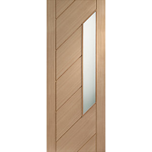 Internal Oak Veneer Monza Door Obscure Glazed