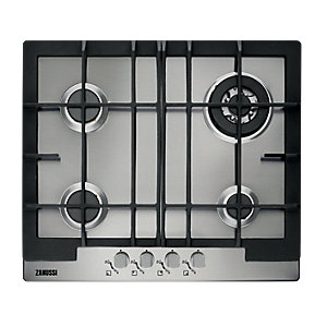 Zanussi 60cm 4 Ring Gas Hob with Cast Iron Supports Stainless Steel- ZGG66424XA