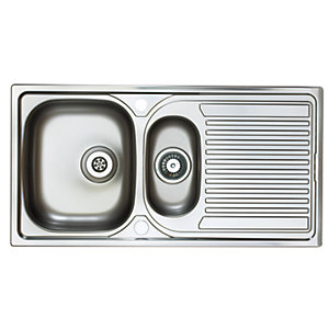 Aegean 1.5 Bowl Stainless Steel Reversible Inset Sink 1 Tap Hole