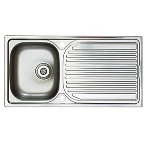 Aegean 1 Bowl Stainless Steel Reversible Inset Sink 1 Tap Hole
