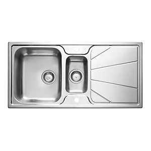 Korona 1.5 Bowl Stainless Steel Inset Sink 1 Tap Hole