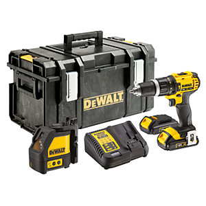 DeWalt 18V Cordless Combi Drill & Cross Line Laser Pack 2 X 1.5Ah Li-Ion Batteries DCK281C2-GB