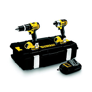 DeWalt 18V XR Cordless Compact Combi Hammer Drill and Impact Driver 2 X 4.0Ah Li-Ion Batteries DCK285M2-GB 2 Pack