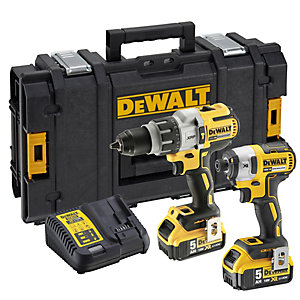 DeWalt XR 18V Cordless Brushless Combi Drill & Impact Driver Twin Pack 2 X 5.0Ah Li-Ion Batteries DCK276P2-GB