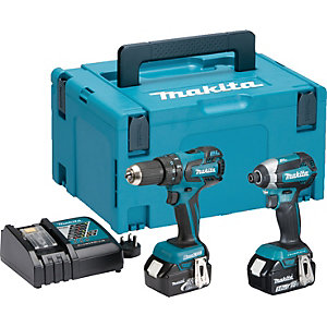 Makita 18 Volt Lxt Brushless Combi Drill and Impact Driver Twin Pack Dl x 2173TJ
