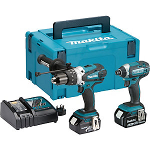 Makita LXT 18V Cordless Hammer Drill & Impact Driver Twin Pack 2 X 5.0Ah Li-Ion Batteries DLX2145TJ