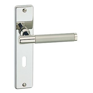 Urfic Biarritz Lever Lock Polished Nickel/ Satin Nickel Barrel Door Handle