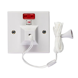 Volex VX9706 50A Dp Pull Cord Ceiling Switch with Neon & On-off Indicator