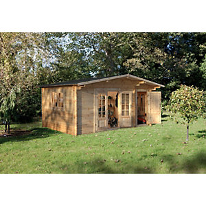 Wrekin Log Cabin Natural Timber 4500mm x 3500mm