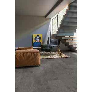 Luxury Vinyl Stone Effect Quick Step Grey Slate Flooring 1300mm x 320mm x 4.5mm - Pack Size 2.08m²