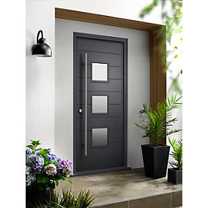 Malmo Ultimate External Grey Front Door with Outer Frame