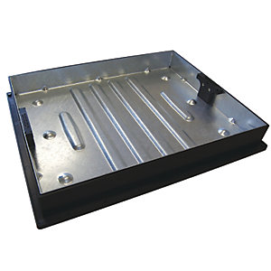 Clark Drain Galvanised Steel 10 Tonne Manhole Cover and Frame Driveway Block Paviour Recessed Tray 450mm x 600mm