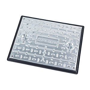 Clark Drain Manhole Cover and Frame Galvanised Steel Sealed and locking 450mm x 600mm 5 Tonne