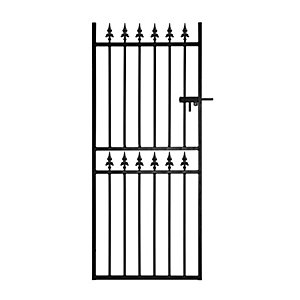 Burbage CF32 Corfe spear top tall metal garden side gate fits 914mm gap x 1778mm high black colour