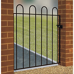 Burbage CR05 Court hoop top metal garden gate fits 1000mm gap x 950mm high black colour