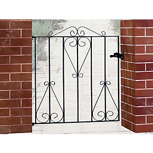 Burbage CS3 Classic scroll metal garden gate fits 914mm gap x 914mm high black colour