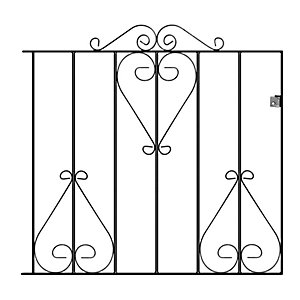 Burbage CS4 Classic scroll metal garden gate fits 991mm gap x 914mm high black colour