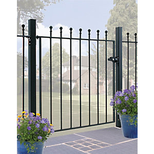 Burbage MA05/3 Manor ball top metal garden gate fits 914mm gap x 915mm high black colour