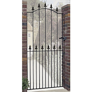 Burbage SA32 Saxon spear top tall metal garden side gate fits 914mm gap x 1980mm high black colour