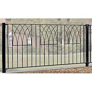 Burbage AB01 Abbey modern metal black fence panel 815mm x 1830mm