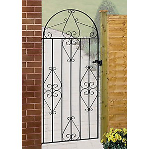 Burbage CB42 Classic scroll tall bow top metal garden gate fits 914mm gap x 1830mm high black colour