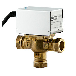 3 Port 22mm Mid Position Motorised Valve