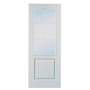Moulded 6 Panel Light Arch Top Grained Glazed Internal Door