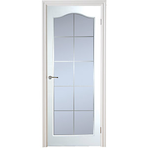 Moulded Manhattan 10 Light Arch Top Textured White Leaded Standard Core Internal Door