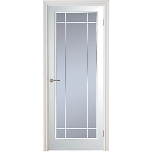 Moulded Manhattan Full Light Arch Top Textured White Leaded Standard Core Internal Door