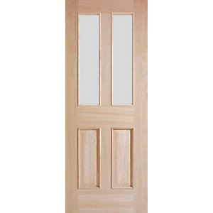 Oak Devon 4 Panel Raised Mouldings Glazed Internal Door