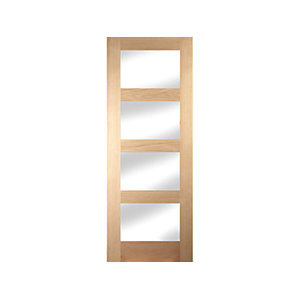 Oregon Shaker 4 Light Clear Glazed White Oak Door