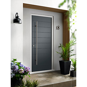 Oslo External Grey Hardwood Veneer Door + Frame