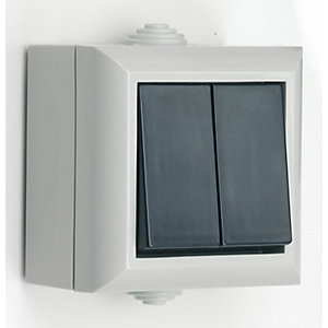 Smj 2 Gang 1 Way Outdoor Switch (Boxed) IP54 Grey