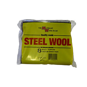Metallic Wool Steel Wool Pads Pack 8