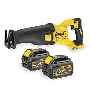 DeWalt XR 54V Cordless FLEXVOLT Reciprocating Saw 2 X 6.0Ah Li-Ion Batteries DCS388T2-GB