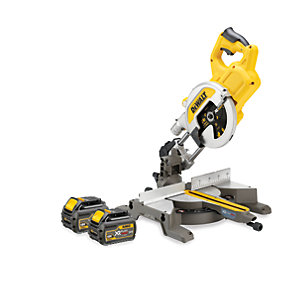 DeWalt XR54V Cordless 216mm FLEXVOLT Mitre Saw 2 X 6.0Ah Li-Ion Batteries DCS777T2-GB