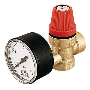 Altecnic Female x Female thread 3 Bar Safety Relief Valve Complet With Gauge 1/2in 313430