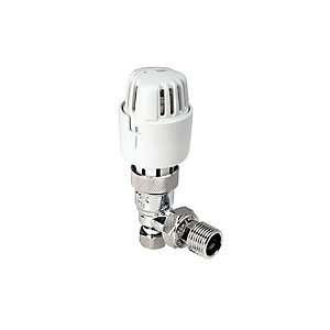 4Trade Angle Thermostatic Radiator Valve Chrome Body White Head 8/10mm