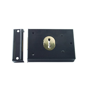 4Trade Deadlock Rim Lock Black 76 x 102mm