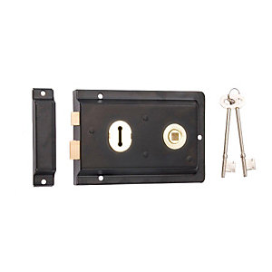 4Trade Reversible Rim Lock Black 150 x 100mm