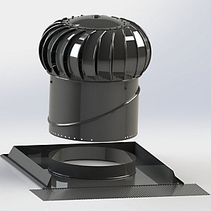 Lomanco Vent Turbine Pitched Roof Set BIB14 & Universal Base - Black