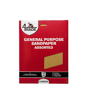4Trade General Purpose Sandpaper 5 Pack Assorted
