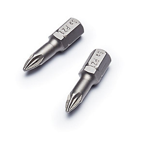 Punk Pozi Torsion Screwdriver Bit With Ribs Pack 2 No.1 x 25mm